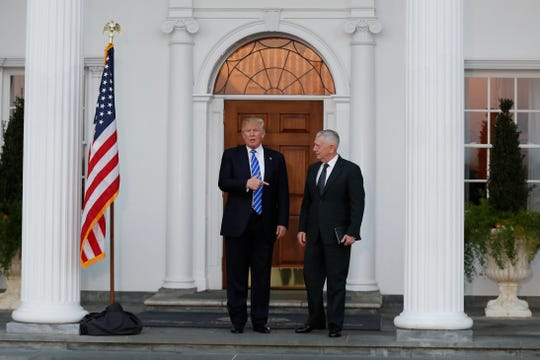 President-elect Donald Trump meets with the future Defense secretary, retired Marine Corps Gen. James Mattis, at a Trump golf club in Bedminster, New Jersey, on Nov. 19, 2016.