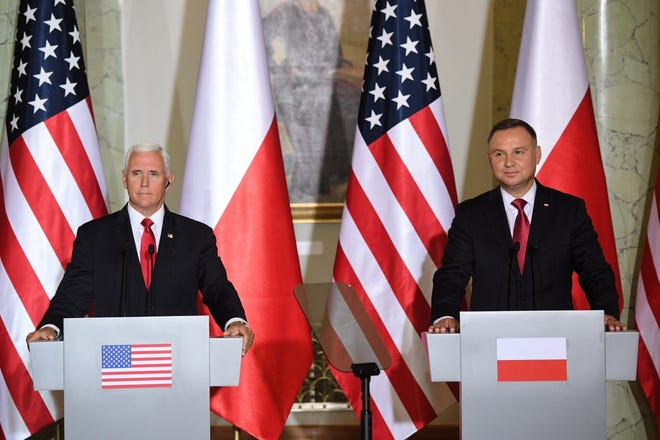 Vice President Mike Pence and Polish President Andrzej Duda attend a news conference after their meeting at the Presidential Palace in Warsaw, Poland, on Sept. 2, 2019.