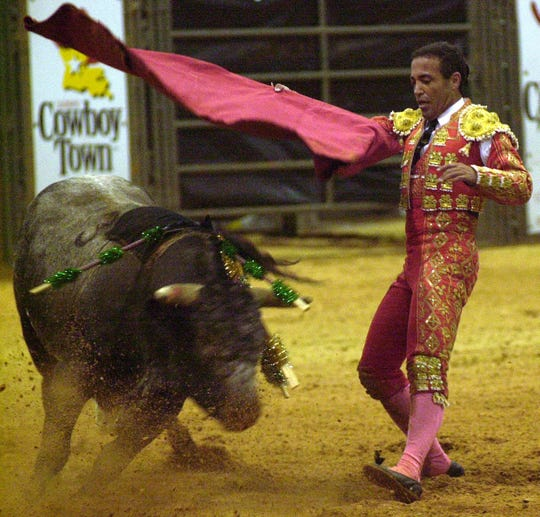 This bloodless bull fighting event in 2000 was one of the few held at Cowboy Town before the facility off Interstate 49 closed. Cowboy Town has been through several owners and is on the market again.