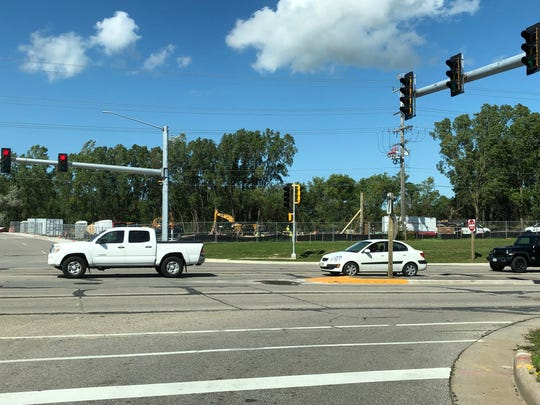 Kwik Trip construction site at northeast corner of West Wisconsin Avenue and Westhill Boulevard in Grand Chute. In this photo facing northeast from Westhill Boulevard, vehicles are driving west on West Wisconsin Avenue.