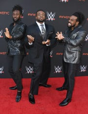 "Kofi Kingston,  from left, Big E and Xavier Woods of The New Day attend WWE's first-ever Emmy ""For Your Consideration"" event at Saban Media Center on June 6, 2018 in North Hollywood, California."