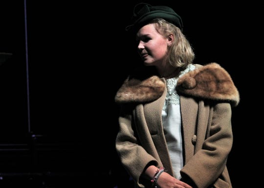 """Avery French is Mrs. Ethel P. Savage, a recent widow who has been placed in a mental institution by her family, in this early rehearsal scene from Wylie High School's """"The Curious Savage,"""" which opens Sept. 19."""