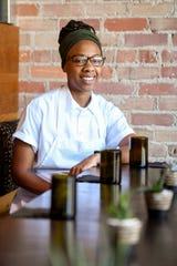 "Ashleigh Shanti at Benne on Eagle in downtown Asheville August 30, 2019. The chef has received attention from big name publications, including Time magazine, which named Benne one of its ""Top 100 Places in the World"" for 2019."