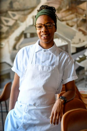 """Ashleigh Shanti at Benne on Eagle in downtown Asheville August 30, 2019. The chef has received attention from big name publications, including Time magazine, which named Benne one of its """"Top 100 Places in the World"""" for 2019."""