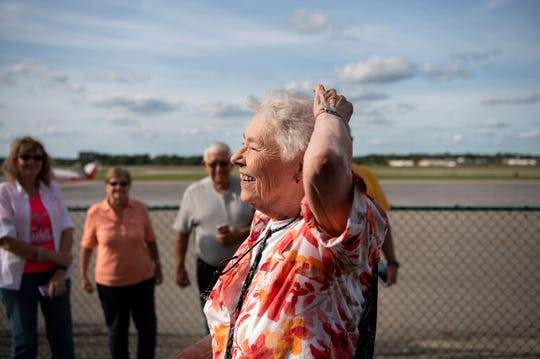 Betty Young arrives at Jackson County Airport in her Cessna 172 Skyhawk to have dinner with her friends for her 90th birthday on Friday, Aug. 30, 2019 in Jackson, Mich.