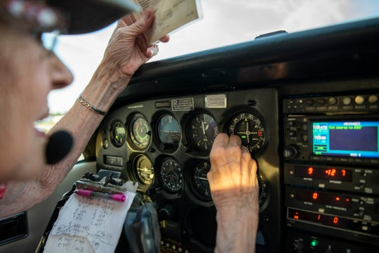 Betty Young prepares to fly home from Jackson County Airport to W.K. Kellogg Airport in Battle Creek, Mich. on Friday, Aug. 30, 2019. To celebrate her 90th birthday, Betty flew her Cessna 172 Skyhawk from Battle Creek to Jackson to have dinner with her friends.