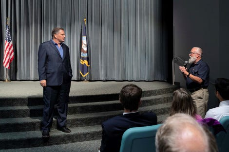 "Assistant Secretary of the Navy James Geurts speaks during an all-hands call at the Naval Undersea Warfare Center (NUWC) Division, Keyport on Aug. 20. On Tuesday, Geurts discussed the concept of Navy ""tech bridges,"" which is an effort to speed innovation."