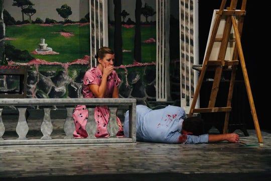 Caroline Crale (Bethany Hodges) finds her husband, Amyas (Matt Haver) murdered.