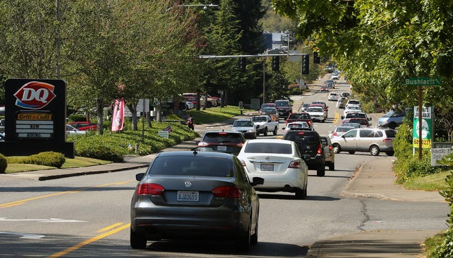 Traffic crawls along Ridgetop heading toward the Mickelberry intersection in Silverdale on Tuesday.