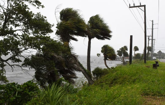 Wind, rain and choppy waters were experienced along the Indian River Lagoon in Melbourne, as Hurricane Dorian moves slowly off the coast of Florida's East Coast.