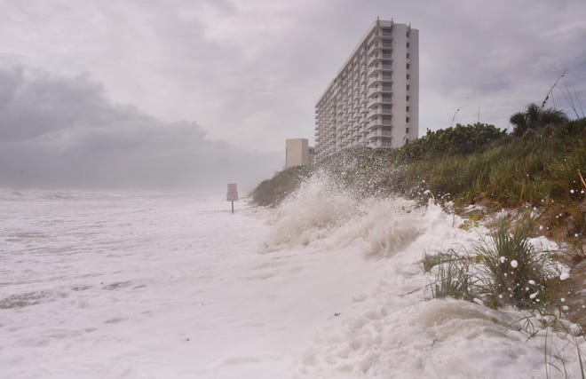 The Satellite Beach area at high tide Tuesday suffered heavy damage from erosion just north of the Radisson near Canova Beach.