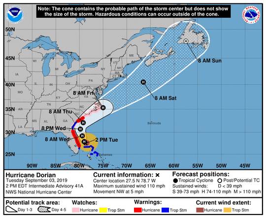 Hurricane Dorian's forecast cone as of 2 p.m. Tuesday, Sept. 3