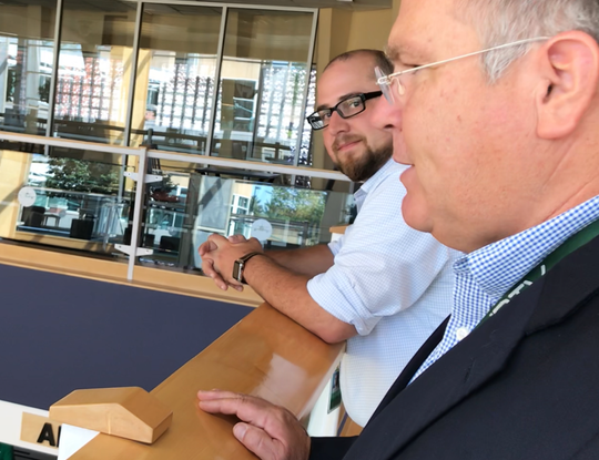 Gene Richards, right, director of aviation at Burlington International Airport, and Nicolas Longo, deputy director, discuss the facility's future on Aug. 30, 2019.