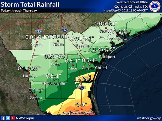 The National Weather Service predicts up to two inches of rainfall in South Texas through Thursday.