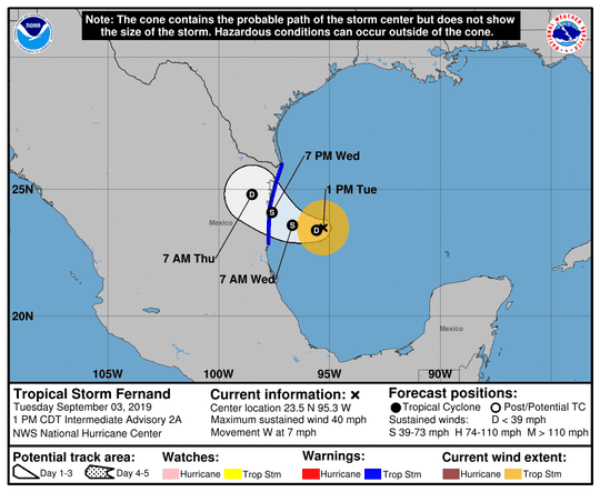 Tropical Storm Fernand was moving west near Mexico at 7 mph on Sept. 3, 2019.