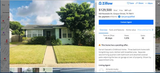 A screenshot shows a Corpus Christi home on Rosedale Drive for sale. The listing states the house was Farrah Fawcett's childhood home.