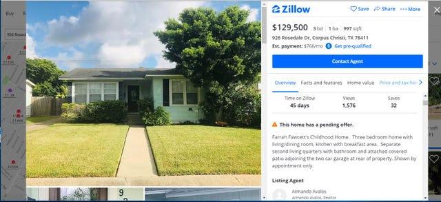 Farrah Fawcett's childhood home in Corpus Christi is for sale