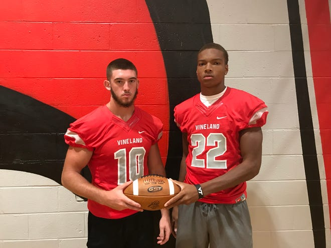 Vineland's Ryan Shelton, left, and Tyreem Powell are ready to write the final chapter of their high school football story.