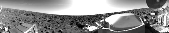 A rocky panoramic scene of the Mars surface, taken Sept. 3, 1976, by the Viking Lander 2.