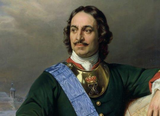 Russian leader Peter the Great, portrait by Paul Delaroche.