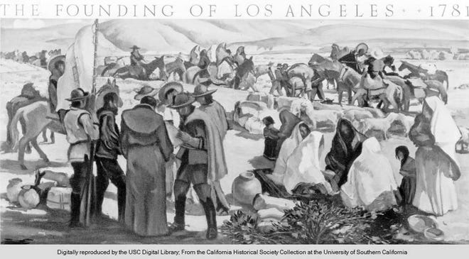 The Founding of Los Angeles, 1781, mural by Millard Sheets.