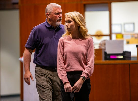 "Brooke ""Skylar"" Richardson, arrives with her father, Scott Richardson to the Warren County Courthouse Tuesday, September 3, 2019.The 20-year-old accused of killing and burying her baby in the backyard of her Carlisle home. Richardson is charged with aggravated murder, involuntary manslaughter, gross abuse of a corpse, tampering with evidence and child endangerment in the death of her newborn infant. She faces the possibility of life in prison."