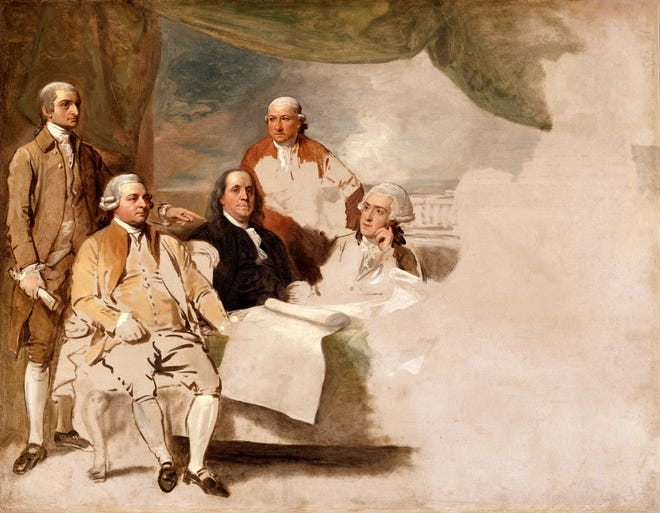 Artist Benjamin West depicts the United States delegation at the Treaty of Paris—John Jay, John Adams, Benjamin Franklin, Henry Laurens and William Temple Franklin—but the British delegation refused to pose, and the painting was never completed.