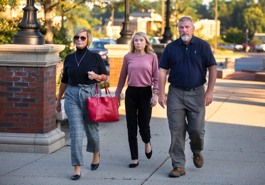 Brooke 'Skylar' Richardson, 20, walks into the Warren County Courthouse in Lebanon, Ohio, Tuesday, September 3, 2019, with her parents, Kim and Scott Richardson, of Carlisle. Richardson is charged with aggravated murder, involuntary manslaughter, gross abuse of a corpse, tampering with evidence and child endangerment in the death of her newborn infant. She faces the possibility of life in prison. She was 18 at that time. Her attorneys are Charlie H. Rittgers and his son, Charlie M. Rittgers. The judge is Donald Oda II.
