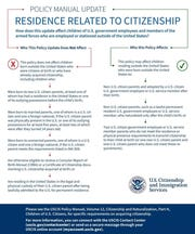 A flowchart issued by the U.S. Citizenship and Immigration Services, clarifying who is impacted by the new policy update.