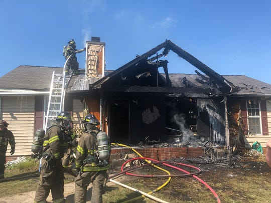 A house at 418 Woodale Drive was destroyed by a fire on Tuesday, Sept. 3, 2019.