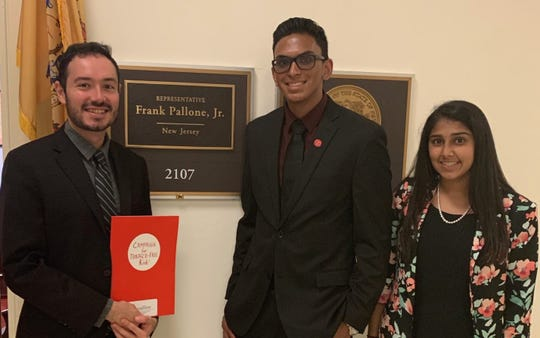 Two rising juniors, Sophia Patel and Keith Furtado from John P. Stevens High School in Edison, have become National Youth Ambassadors for the Campaign for Tobacco Free Kids. Roberto Sada, Legislative Director for Rep. Frank Pallone, is pictured on left.