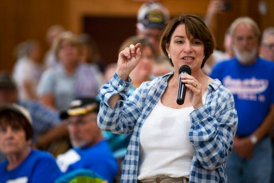 U.S. Sen. Amy Klobuchar of Minnesota speaks at the Clinton County Democrats' Labor Day Picnic on Sept. 1, 2019.