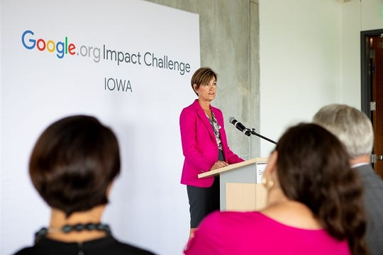 Iowa Gov. Kim Reynolds speaks during a presentation for the Google.org Impact Challenge Iowa competitive grant awards at the Iowa West Foundation in Council Bluffs on Tuesday, Sept. 3, 2019.