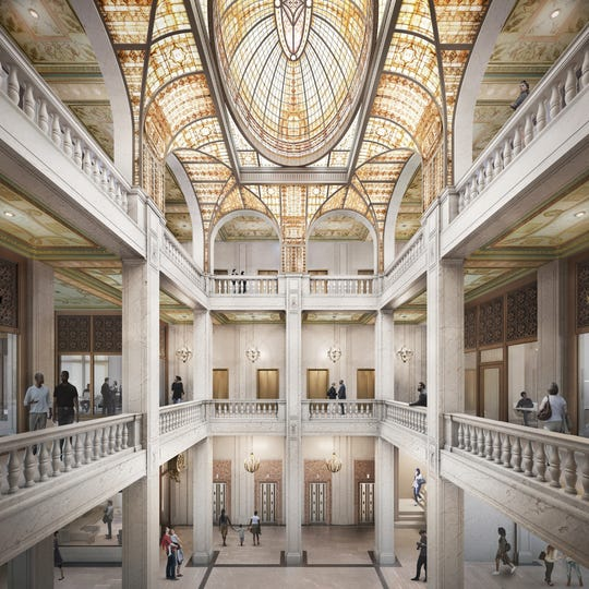 Rendering shows what the interior of the Book Tower could look like once the planned renovation is completed.