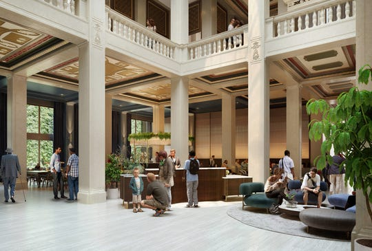 Rendering shows what the interior of the Book Tower buildings may look like once a planned renovation by Bedrock is completed around 2022.