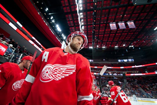 Detroit defenseman Niklas Kronwall walks out of the tunnel for the start of a game against the Toronto Maple Leafs, at Little Caesars Arena, in Detroit, October 11, 2018.