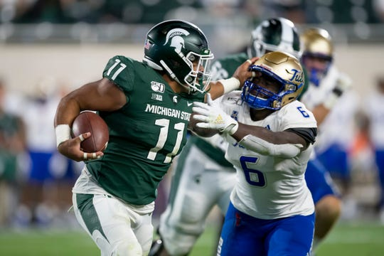 Michigan State running back Connor Heyward rushed for 43 yards on 15 carries in last week's win over Tulsa.