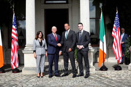 US Vice President Mike Pence and wife Karen Pence, left, meet with the Irish Prime Minister Leo Varadkar and his partner Matt Barrett, right, at Farmleigh House, Dublin, Ireland, Tuesday, Sept. 3 2019.