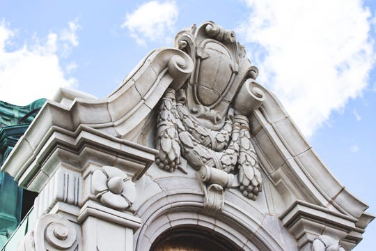 Bedrock fully restored the ornamental cornice on the Book Building in Detroit.    2019.