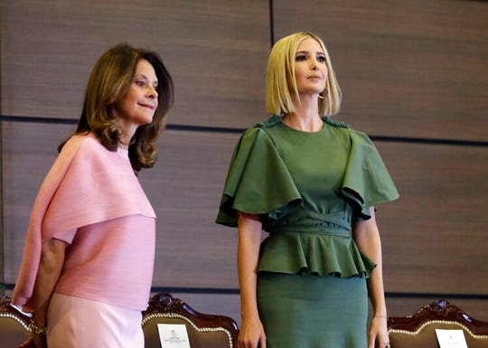 Ivanka Trump, President Donald Trump's daughter and White House adviser, stands with Colombia's Vice President Martha Lucia Ramirez during an event at the General Santander National Policy Academy in Bogota, Colombia, Tuesday.
