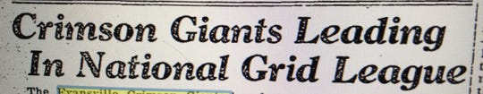An Evansville Courier headline chronicling the Evansville Crimson Giants' success.