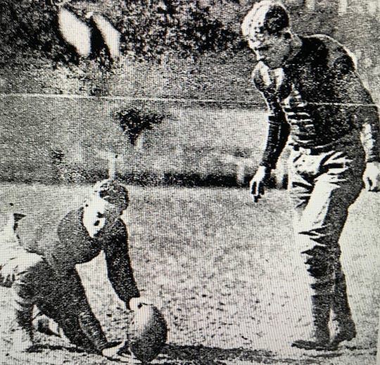 Former Evansville Crimson Giants star Herb Henderson kicks a field goal. Henderson was of the members of Evansville long-lost NFL team.