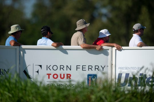 Fans look on to the 15th hole at Korn Ferry Tour at Victoria National Golf Club Newburgh, Ind., Monday afternoon, Sept. 2, 2019.