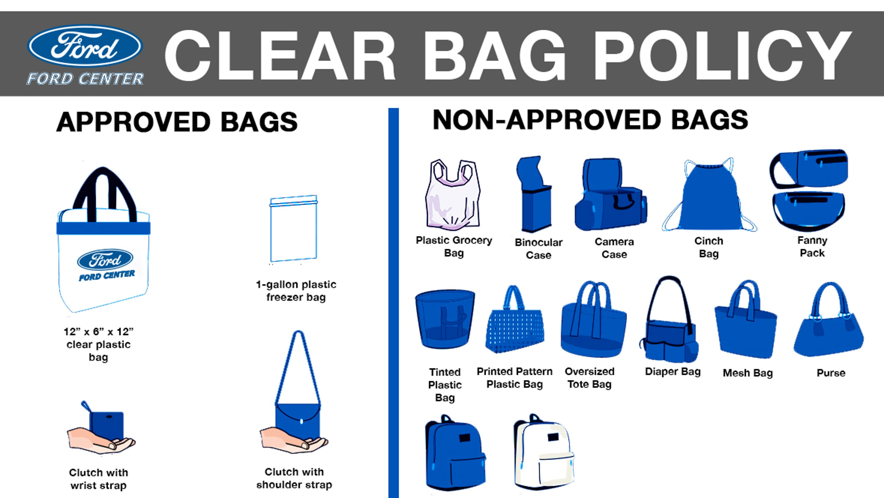 Ford Center, Victory Theatre to begin new 'clear bag policy