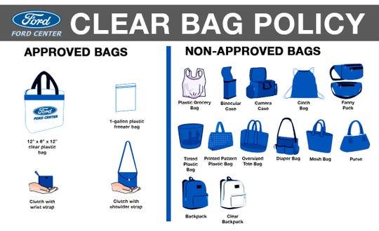 Examples of bags that are approved or not approved for both the Ford Center and Victory Theatre.