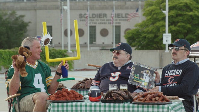 "Brett Favre pulls up a tailgating chair to have a heart-to-heart with ""Da Bears!"" guys in the latest ""Sunday Night Football"" spot for the Packers-Bears game."