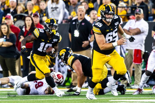 Iowa running back Mekhi Sargent (10) followed a Tyler Linderbaum block for 41 yards on this pass play vs. Miami (Ohio) on Aug. 31. Sargent's ability to catch the football could be a big key Saturday vs. Iowa State.