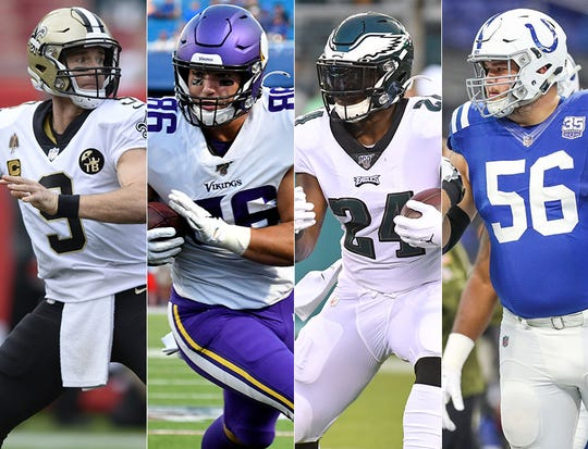 Drew Brees (Purdue), Brandon Dillon (Carroll HS, Marian), Jordan Howard (IU) and Quenton Nelson (Notre Dame) are starting the 2019 season on NFL rosterse.
