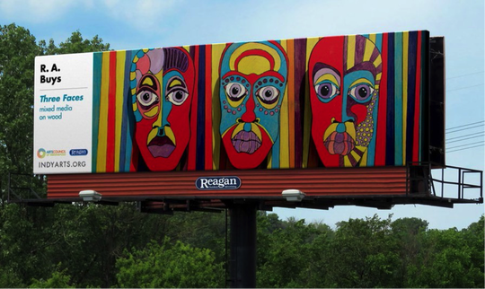 "This mock-up of a future billboard shows R.A. Buys' ""Three Faces."""