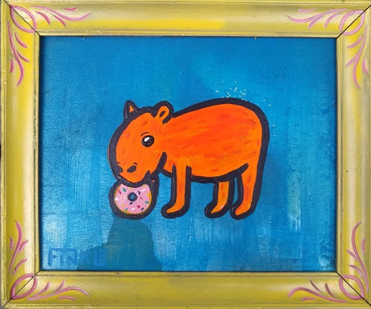 First Friday Gallery Night will include Andy Finkle's 'Animals Eating People Food' at Sunny Days.